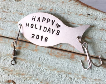 Personalized Fishing Lure, Holiday Gift For Fisherman, Gift For Fisherman, Fishing Gifts, Happy Holidays, Custom Fishing Lure