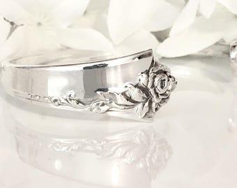 STERLING Silver Bracelet Cuff, Silver Bracelet Cuff, Sterling Silver, Spoon Jewelry, Spoon Bracelet, Cuff - 1946 DAMASK ROSE