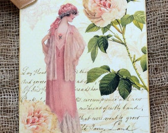 Vintage Style Lady Fashion Dress Rose Gift or Scrapbook Tags or Magnet #627