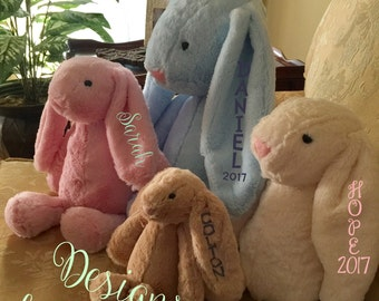 Monogrammed Plush Bunny - Easter Gift, Baby Shower, Solid Bunny