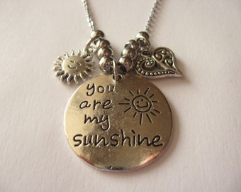 Silver You are my sunshine Pendant Necklace with Fancy Heart, Smiling Sun Charms