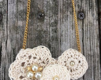 Creamy Crocheted Neutral Vintage Upcycled Rockin' Roses Necklace