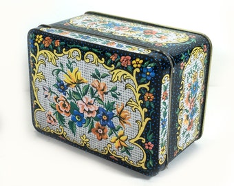 Vintage Daher Metal Tin- Small Rectangular, Black with Turquoise Dots, Gold Scrolls, Colorful Flowers