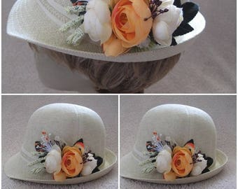 Woman  summer hats, Colorful  floral sun hat for women, Spring hats For her, handmade flowers