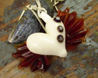 Fairy Winged Heart Pendant - Lampwork Decorated Pendant - Flamework Glass Jewellery Pendant
