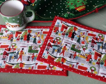 Christmas mug rugs small placemat snack mat small table topper retro scene Santa department store shopping