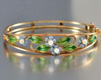 Antique Krementz 14K Rolled Gold Bracelet, Enamel Flower Cultured Pearl Forget Me Not Bangle, Periwinkle Blue Floral Green Leaves