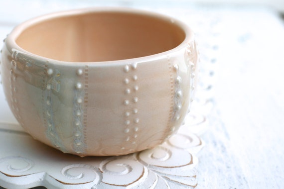 peach sea urchin bowl, porcelain