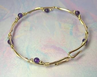 Amethyst Gold Bangle Bracelet, Modern Gemstone 14K Gold-Filled Stacking Bangle, Opens, Original Design, Sizes Available, February Birthstone
