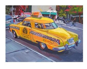 Art Sale. Taxi Painting. 12x16 Large Yellow Taxi Studebaker Transportation Art Print. vintage car. New York City  Print by Gwen Meyerson