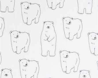214554 white with polar bear animal twill laminate fabric from Japan