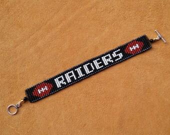 RAIDERS. Loom beaded bracelet. Football.