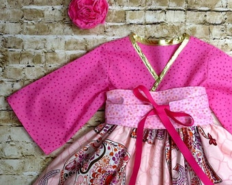 Girls Pink Dresses - Toddler Clothes - Little Girl Birthday Dress - Boutique Kids Clothes - Kimono Dress - Elephants -   12 mo to ...