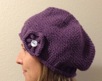 Lavender Purple Slouchy Hat with Flower Button Trim