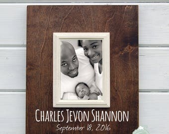 New Baby Gift - Custom Frame 5X7, Nursery Decor, Newborn Baby