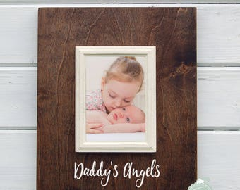 Fathers Day Gift, Personalized Daddy Gift, Daddy's Angels, 5x7 Frame, Dad Gift, New Baby Gift, Gift for Daddy, New Dad Gift