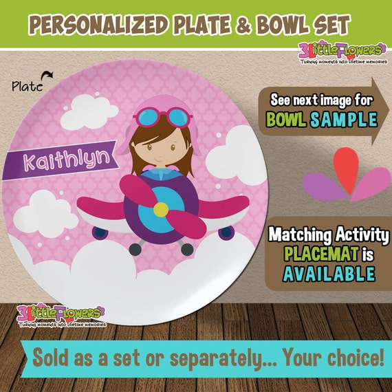 Il_570xn  sc 1 st  Catch My Party & Girl Pilot Plate and Bowl Set - Personalized Plastic Children Plate ...