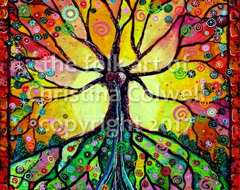 "River of Tree of Life Instant Download 8"" X 10""  printable art from original mixed media contemporary raw folk art"