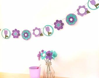 Purple Retro Flower Garland