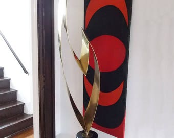 Monumental C Jere Brutalist brass marble Sculpture /Huge 1970s Modernist abstract art object