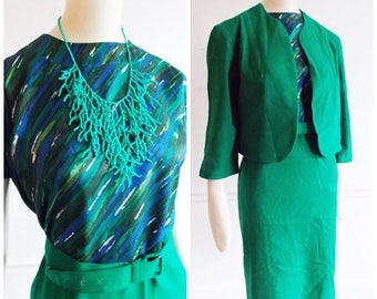 1950s green blue abstract Dress and jacket / Mid Century multi color wiggle dress/ 1960s mod large dress