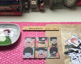 kawaii kokeshi postcard print