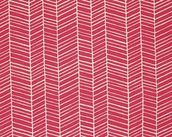"Joel Dewberry PWJD036 Flora Herringbone Poppy Red Eclectic Modern Mod Free Spirit Designer Quilting 18"" BTHY Half Yard Quilt Fabric HY"