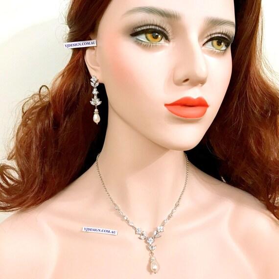 Pearl Bridal Jewelry Set, Marquise Bridal Necklace, Teardrop Bridal Earrings, Dangle Wedding Earrings, Pearl Drop Wedding Jewelry, HARMONIA
