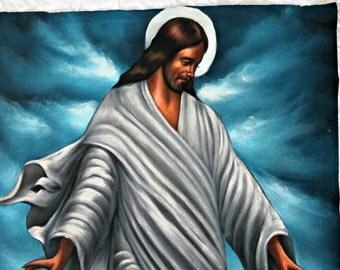 Vintage Velvet Jesus Painting | Kitschy Boho Art