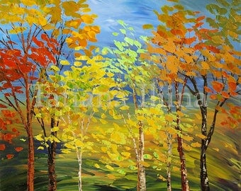 Original landscape painting textured stretched giclee print on CANVAS trees forest sunny SUMMER AUTUMN - by Iliina