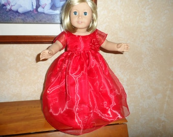 """Doll Dress or American Girl Doll or 18"""" doll   Red Glittery Long Party Dress with Red Glittery  Overlay  Slipperss  by Sophia's"""