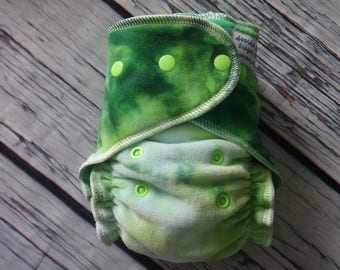 One Size Stay Dry Overnight Fitted Cloth Diaper in Hand Dyed Cotton Velour