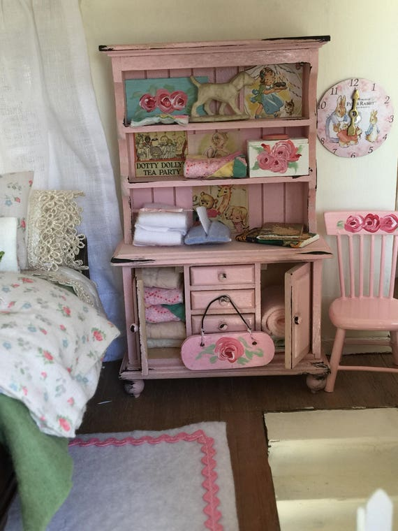 Miniature Dollhouse Distressed Pink Childs Hutch- 1:12 scale