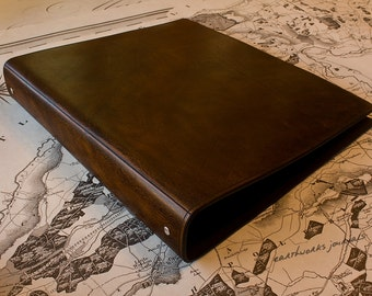 A4 Dark Brown Leather 4 Ring Binder, Presentation Folder, Brown Leather, Filofax Compatible Organizer, Ringbinder, Free Personalisation.