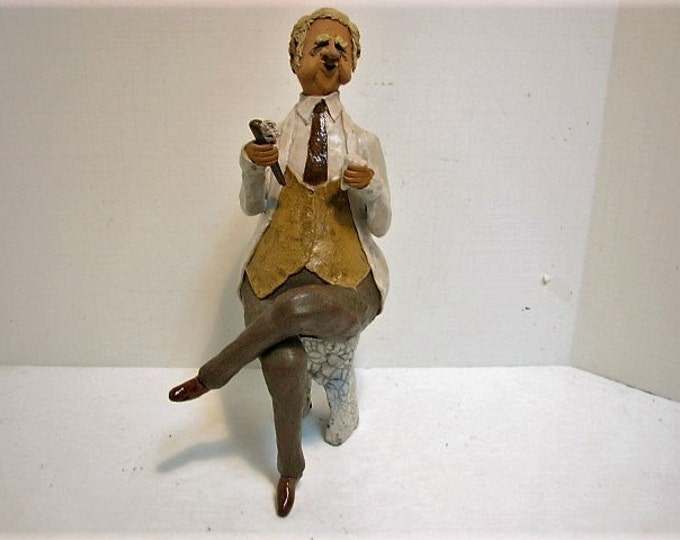Vintage Dentist Sculpture Figure, Large Pottery Clay Figurine, Signed 1980s Studio Pottery, Sitting on Tooth, Dental Office Decor
