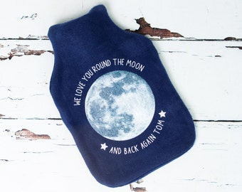 Moon Hot Water Bottle Cover - glitter - personalised childrens gift - nursery decor - children's room - moon and back -  space - astronaut