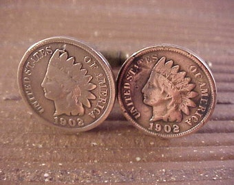 1902 Indian Head Penny Cuff Links