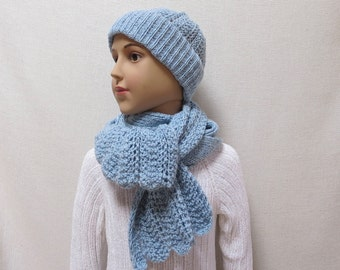 Stylish Hand Knit Wool Set For Girl -  Beanie  Hat with Scarf - 4T/6T