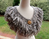 RESERVED Scarf  Collar Hand Spun Chunky Bulky Hand Knit soft dove grey brown merino and silk
