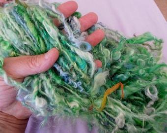 handspun chunky art yarn turquoise green blue lockspun mohair