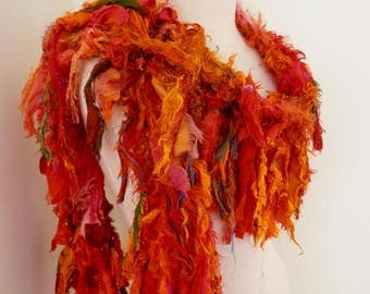 Recycled silk scarf, hand knitted boho tattered rag scarf, orange