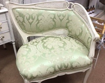 Cane Back Curved Chair with Green Damask