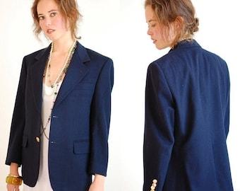 sale 25% rainy days sale Givenchy Jacket Vintage Dark Navy Blue Wool GIVENCHY Preppy Menswear Blazer Sport Coat (m l)