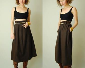 Wool High Waist Skirt Vintage 60s Espresso Brown High Waist Wool A Line Preppy Skirt (s m)