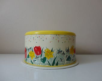 VINTAGE 1950s spring floral CAKE TIN carrier