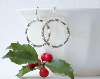 Circle Earrings, Silver Round Dangle Earrings, Silver Circle Dangle Earrings, Gifts under 20, XMas