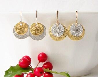 Silver Gold Circle Earrings, Modern Layered Disc Earrings