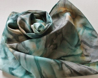 Silk Infinity Scarf - Hand Painted Circle Scarves Aqua Blue Turquoise Jade Teal Gray Grey Silver Peach Taupe