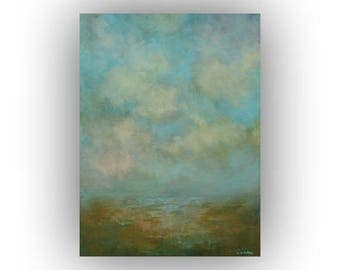 Small Abstract Landscape on Canvas- Sky Cloud and Field Oil Painting- Original Green and Blue 12 x 16 Palette Knife Art
