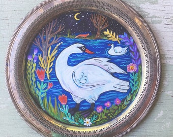 Folk Art Swan Painting Ready to Hang